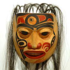 """""""Raven's Apprentice"""" Portrait Mask by James H. Lewis, Tsimshian, Tahltan, Tlingit artist (X80514)"""