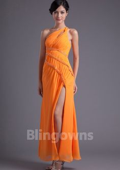 f357facc772 Ankle Length Split Crystals One Shoulder Black Orange Chiffon Sleeveless A- line Evening   Prom. Prom Dress 2014Wedding Dresses ...