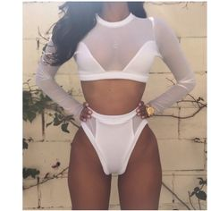 Sexy round color long sleeve see through bikini 😍 Sexy round collar long sleeve see through bikini brand new very sexy😍😍 ladies be cool for the summer in this stunner Swim Bikinis