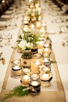 30 new Ideas wedding winter table decorations Wedding Jars, Candle Wedding Centerpieces, Wedding Table Centerpieces, Wedding Table Settings, Diy Wedding, Rustic Wedding, Wedding Decorations, Trendy Wedding, Wedding Reception
