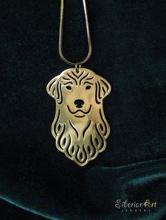 Golden Retriever jewelry  gold dog jewelry  by SiberianArtJewelry, $89.00