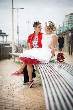 Civil Partnership, lesbian wedding, gay wedding, same sex wedding, retro 50s wedding, seaside wedding. Photography by Emmest Photography, fi...