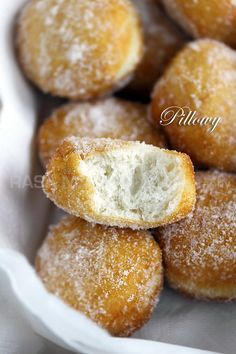 Sugared Pillsbury Biscuits (Cheater Donuts): They were fried to golden brown  and then dusted generously with sugar. It's not conventional, but trust me on this one: once you taste these babies, you will probably not bake them anymore! #donut #sugar