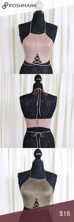 "Amber Faux Suede Lace Up Crop Top 'Rose' One of the best crop tops for summer! Has wrap ties around the neck and waist.  Five hook closure in back.  Lined. Color: Rose.  Also available in olive. (This listing is for the Rose.) Will look great with your favorite pair of low or high waisted jean shorts.  Material:  90% Polyester 10% Spandex  Measurements:  S (Pit to Pit 15"", Length 11"") M (Pit to Pit 15.5"", Length 11"") L (Pit to Pit 16"", Length 11.5"")  Modeling a size small. Jaded Affairs Tops…"