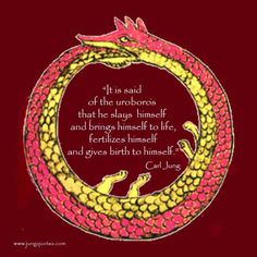 """""""In the image of the uroboros (the serpent swallowing its own tail) lies the thought of devouring oneself and turning oneself into a circulatory process. The uroboros is a dramatic symbol for the integration and assimilation of the opposite, i. Personality Archetypes, Brand Archetypes, Carl Jung Archetypes, Carl G Jung, Carl Jung Quotes, Jungian Psychology, Cosmic Consciousness, Red Books, Spiritual Awakening"""