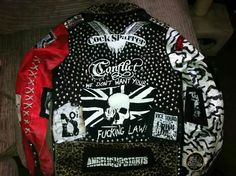 Punk Jackets, Punk Outfits, Jansport Backpack, Leather Jackets, Punk Rock, Cosplay, Colors, Cute, Diy