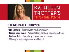 Use these tips to adopt a healthier lifestyle FOR GOOD! Make realistic, specific and measurable goals!