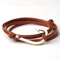 Trendy Jewelry Women and Men Charm Bracelets Anchor Leather Bracelet Gift for Lovers Rope Chain Easy-hook KJL059 - 10