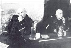 Polish generals Zygmunt Berling and Karol Świerczewski waiting for reports of the frontline.