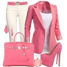 Pretty in pink work outfit! Shoes are kinda unrealistic, but worth it to look that good. Mode Outfits, Casual Outfits, Fashion Outfits, Womens Fashion, Casual Blazer, Latest Fashion, Woman Outfits, Fashion 2018, Fashion Ideas
