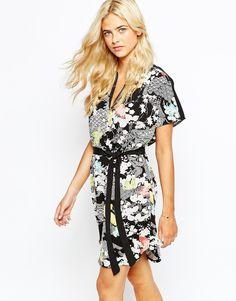 Image 1 ofOasis Kimono Wrap Detail Dress