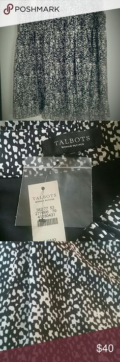 Talbots skirt NWT Talbots skirt. Approximately 24 inches from top to bottom. 100%Polyester. Lining is 100% Polyester. Talbots Skirts A-Line or Full
