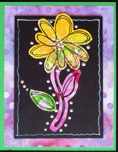 https://flic.kr/p/xntcYa | Greeting Card - Scribble Flower 4 | Greeting card created with: - Green cardstock - Coordinating background paper - Black cardstock - Floral components created from various Gelli Plate prints - Embellished with Ranger Liquid Pearls - Stamp Credits:  Flowers & Leaves by Fiskars - Card measures 4.25 x 5.5