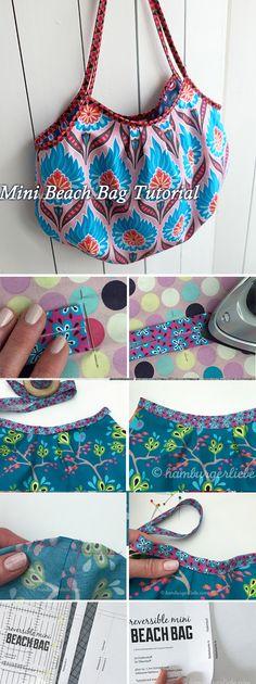 Reversible Mini Beach Bag Tutorial http://www.handmadiya.com/2018/05/reversible-mini-beach-bag-tutorial.html