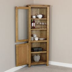 Cheshire Rustic Oak Corner Display Cabinet & Original Corona Pine Corner Display Unit | Furniture Wholesale ...