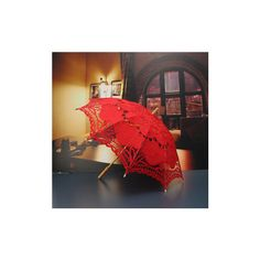 66cm Women Bride Cotton Lace Embroidery Hollow Out Umbrella Parasol... ($18) ❤ liked on Polyvore featuring accessories, umbrellas, red, lace umbrella, bridal umbrella, red umbrella and bride umbrella