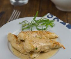 Chicken with Tarragon –Mustard Sauce is a creamy, tangy sauce that comes together in minutes. Turn plain old chicken into something special even on a busy weeknight. My kitchen has kind of turned into a disaster zone lately. It all started when our freezer started leaking water (inside the freezer), and coating the whole thing in ice. To replace it meant having to remodel a portion of our kitchen. The fridge that came with the house was a custom, built-in fridge. FYI – those are extra wide…