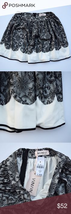"N A A N A A  |  Black & White Lace Skirt Beautiful black and white cocktail skirt with lace detail. Length: 16"" laying flat. Waist: 27"" Naanaa Skirts Mini"