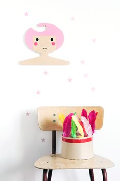 Pink birch ply wood kids clothes hanger
