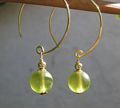 Lime hoop earrings, gold hoops with Czech glass rounds