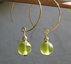 Lime hoop earrings gold hoops with Czech by SunshineDaydreamz