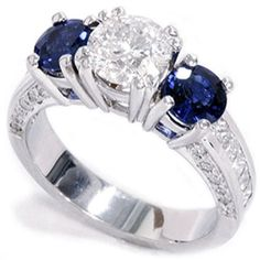 New Three Stone Enhanced Diamond Blue Sapphire Accent Ring White Gold sold by Sapphire Diamond Engagement, Blue Sapphire Rings, Diamond Wedding Rings, Diamond Rings, Diamond Jewelry, Diamond Cuts, Sapphire Wedding, Ring Ring, Three Stone Engagement Rings