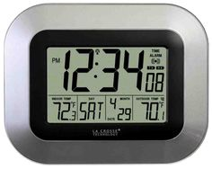 La Crosse Technology Atomic Digital Wall Clock with Temperature. Self-setting digital clock with indoor and outdoor temperature also features alarm with snooze option and low battery indicator for both clock and wireless sensor. Digital Wall, Digital Alarm Clock, La Crosse Technology, Atomic Wall Clock, Wall Clocks, Mantel Clocks, Desk Clock, Atomic Time, Wall Clock With Temperature