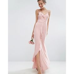 ASOS WEDDING Cami Frill Maxi Dress ($65) ❤ liked on Polyvore featuring dresses, wedding dresses and pink