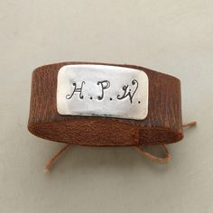 """PERSONALIZED HARNESS BRACELET--Jes MaHarry reclaims old leather horse harnesses. The sterling silver plaque can be personalized with up to 3 letters. Sundance exclusive handmade in USA. Fits 6"""" to 7-1/2"""" wrist. 1""""W."""
