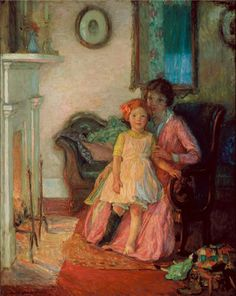 """Alice Mary (Beach) Winter. Bedtime Stories. Oil on canvas Ground:  Canvas Signed Size:  30"""" x 24"""" Style:  American Impressionist  c. 1915  Vose Galleries, Boston; R.H. Love Galleries, Chicago; Museum of Arts & Sciences, Daytona Beach, FL labels verso. Exhibited: Regional Dialect: American Scene Painting from the John and Susan Horseman Collection (2008-2010)"""
