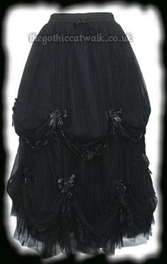 Long Black Romantic Gothic Fairytale Skirt