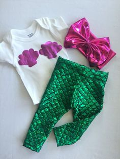 Baby Girl and Toddler Mermaid Leggings, Onesie & Headband