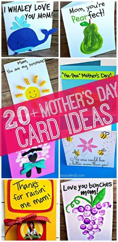 20+ Fun and easy to make Mother's Day cards that will put a smile on her face! #MothersDay #MomentsWithMom #Cards: