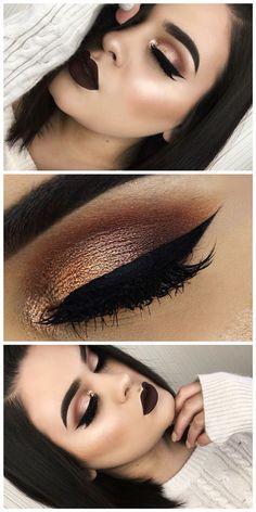 Dark winter makeup look.
