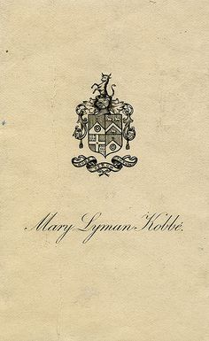 Bookplate of Mary Lyman Kobbe | Description: States, 'Mary Lyman Kobbe' with motto 'Quod verum tutum;' features a quartered shield with roundels, sheep, a chevron stripe, a cross, a helmet, and a demi-bull. Unsigned.  Format: 1 print, col., 11 x 7 cm.  Source: Pratt Institute Libraries, Special Collections 195a (sc00727)