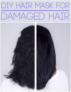 DIY Hair Mask for Dry, Damaged Hair 1 Egg Yolk 2 Tbsp. Coconut Oil 1 Tbsp. Honey