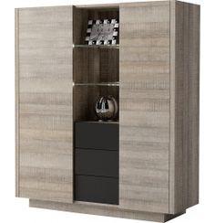 Buffet vaisselier chêne gris 2 portes 3 tiroirs BROOKLYN