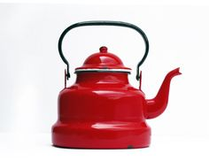 French vintage red enamel Kettle, red tea pot