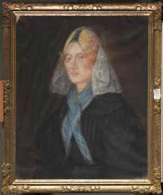 Portret van een vrouw in Noord-Hollandse dracht 1851 kunstenaar: Kunst, Berend Wierts #NoordHolland