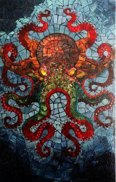 octopus mosaic by dan chudzinski Tile Art, Mosaic Art, Mosaic Glass, Mosaic Tiles, Stained Glass, Glass Art, Mosaic Projects, Art Projects, Le Kraken