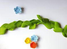 Greenery garland - floral garland, apple green felt garland, floral nursery, nursery decor, floral room decor, greenery bunting, felt leaf