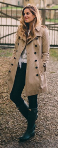 Julia Engel + Parisian chic + Hunter Boots + jeans outfit + classic Burberry trench coat + look simple and classy. Trench: Burberry, Blazer: Club Monaco, Sweater: Carven, Jeans: J.Crew, Boots: Hunter