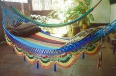 Natural Cotton Hand-woven Multi Color Single Hammock With Special Fringe by hamanica on Etsy