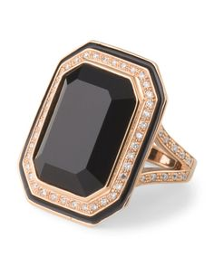 18k Rose Gold Diamond And Onyx Ring