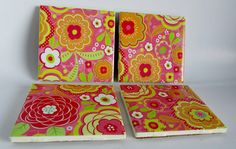 Ceramic tile coasters with bright red, orange, green,pink,tan and white flowers.  For cold and hot drinks. Great gifts for all occasions. by ThePrimroseCottage on Etsy