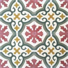 Handmade cement encaustic tiles. Floral Spanish design, ,Hydraulic Authentic Andalusian Tiles for both the floor and wall. MOD-198