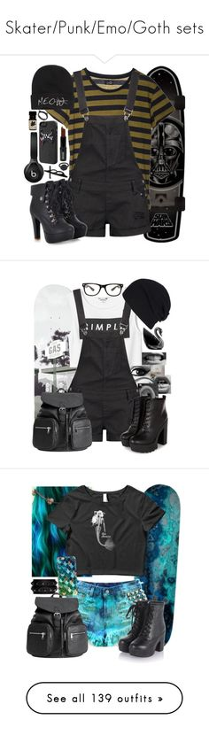 """Skater/Punk/Emo/Goth sets"" by neverland-is-just-a-dream-away ❤ liked on Polyvore featuring Kate Spade, Cheap Monday, Boohoo, LA: Hearts, Beats by Dr. Dre, Lord & Berry, LeiVanKash, GAS Jeans, Monki and H&M"