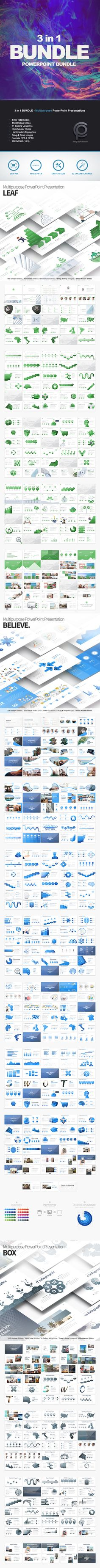 BUNDLE 3 in1  Multipurpose PowerPoint Presentations — Layered PSD #clean #marketing • Download ➝ https://graphicriver.net/item/bundle-3in1-multipurpose-powerpoint-presentations/20177994?ref=pxcr