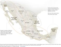 """""""This infographic shows which Mexican drug cartels control what territory. It's a staggering indication of how powerful these groups have become, as well as a glimpse into the vast cartel economy they collectively run – one in which territory is especially important."""""""