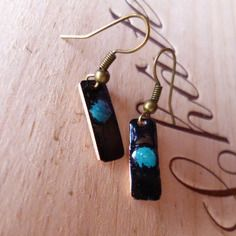Boucles d'oreilles rectangulaire -  émaux sur cuivre turquoise